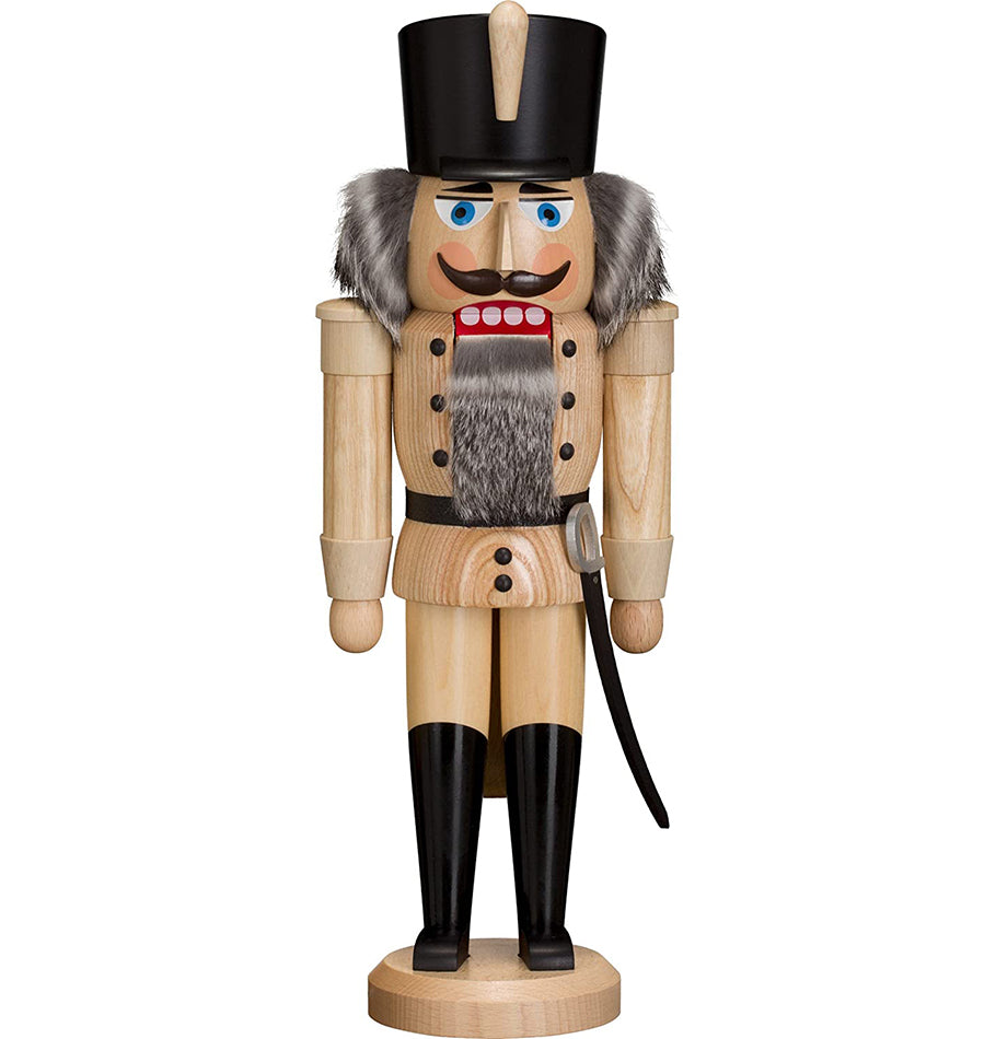 German Nutcracker King, 37 cm, natural wood, original Erzgebirge by Seiffener Volkskunst