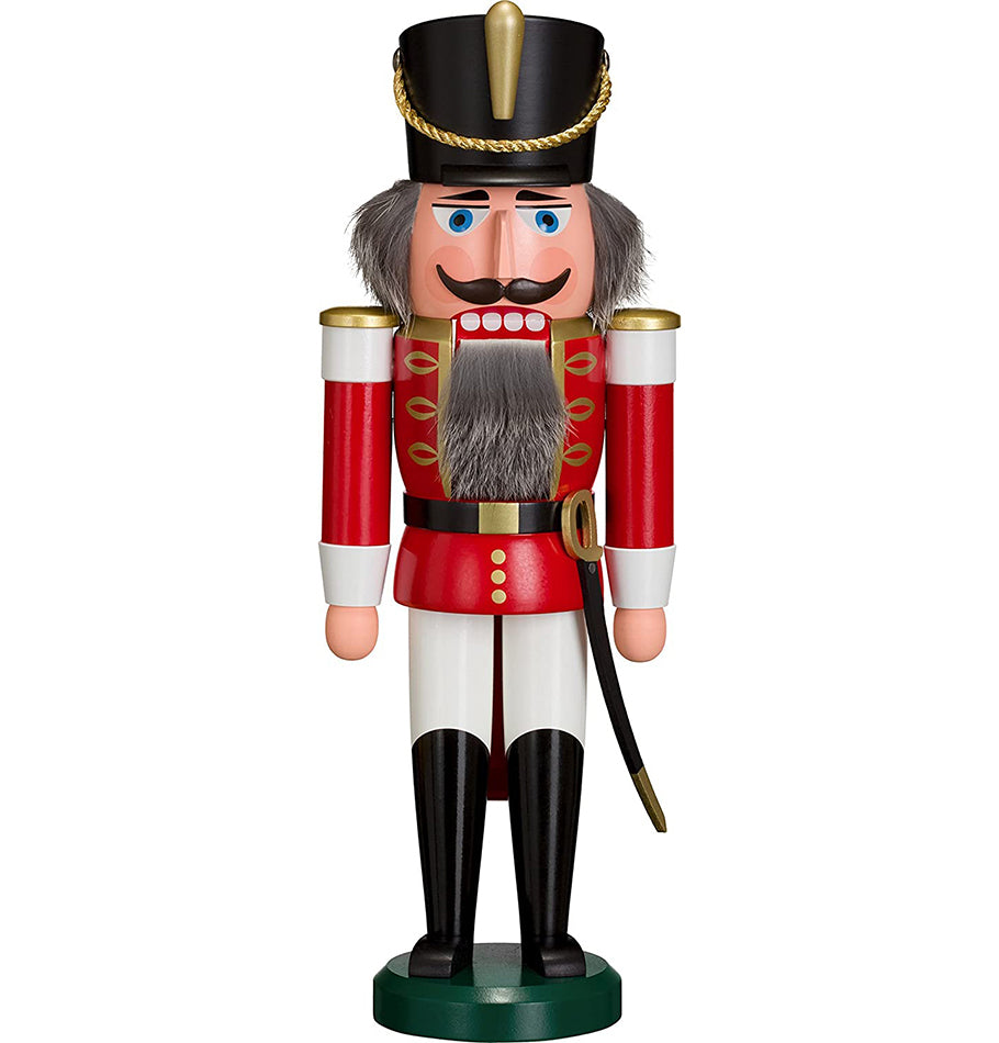 German Nutcracker King hussar red, 28 cm, natural wood, original Erzgebirge by Seiffener Volkskunst