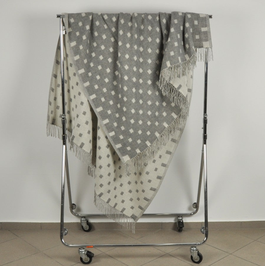 100% Merino Wool Throw / Blanket double-sided 'Arina', 140 x 200 cm, collection 'HUG ME MORE...soft' by Drobe, Lithuania,1920 - Treasure Box