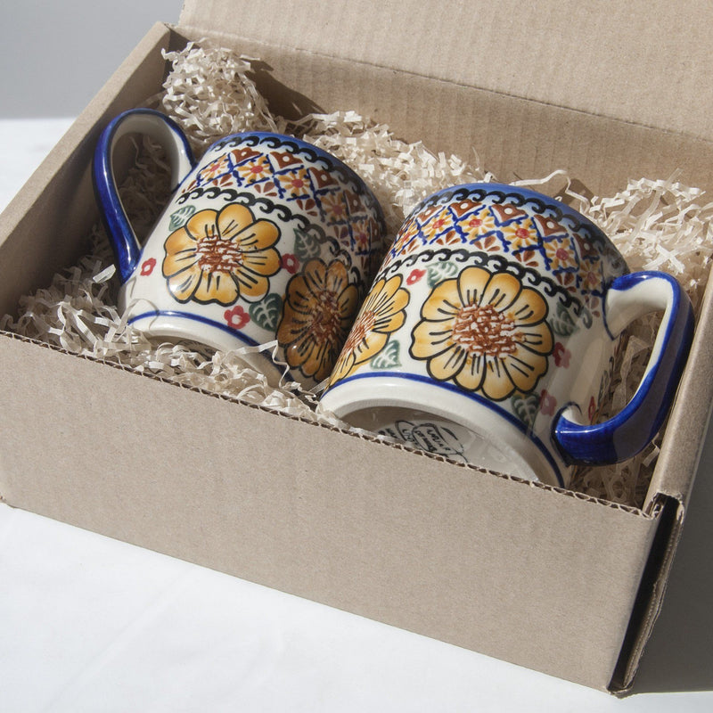 Ceramic mug, hand painted, 2 pc 'FLOWERS, RINGS, DOTS'
