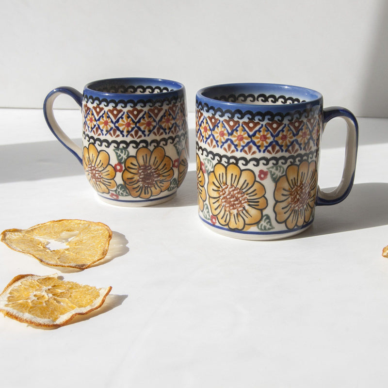 White clay coffee/tea mug 'FLOWERS, RINGS, DOTS', exclusive design, hand painted, 2 pc