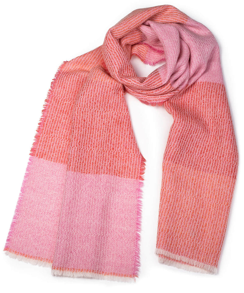 Wool + Mohair Scarf 'Linear pink, orange', 50 x 220 cm, by Kelpman Textile, Estonia