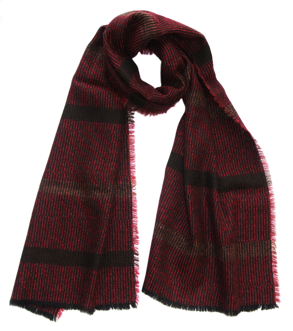 Wool + Mohair Scarf 'Linear black,red', 50 x 216 cm, by Kelpman Textile, Estonia