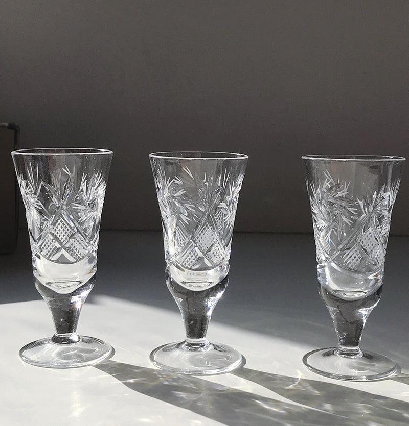 Crystal sherry glass, 25 ml, 3 pc, 'SUNNY BUNNY'