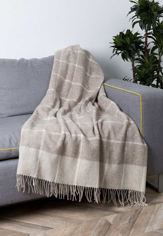 100% Merino Wool Throw / Blanket 'Enna', 140 x 200 cm, collection 'HUG ME MORE...soft' by Drobe, Lithuania,1920