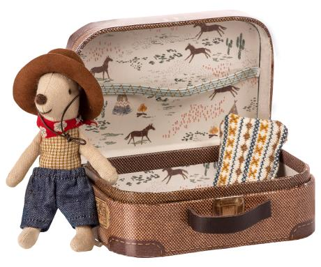 Little Brother Mouse, Cowboy in Suitcase, 8 cm - Treasure Box
