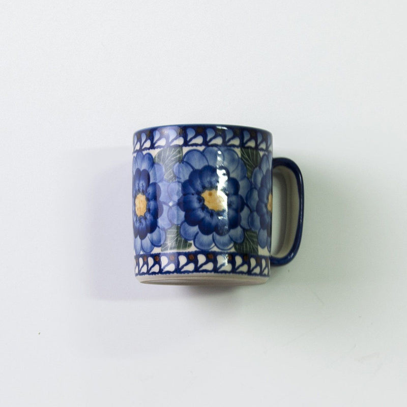 Ceramic mugs, hand painted, 2 pc 'FLOWERS, RINGS, DOTS'
