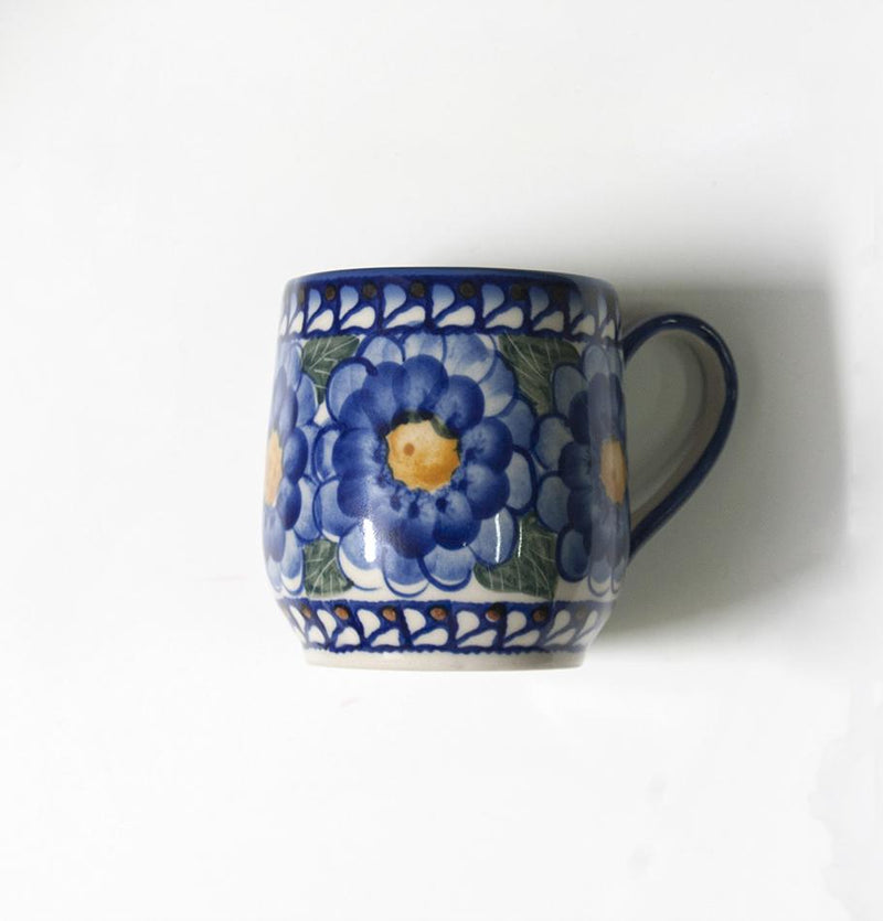 White clay coffee/tea mug 'FLOWERS, RINGS, DOTS', exclusive design, hand painted, 2 pc - Treasure Box