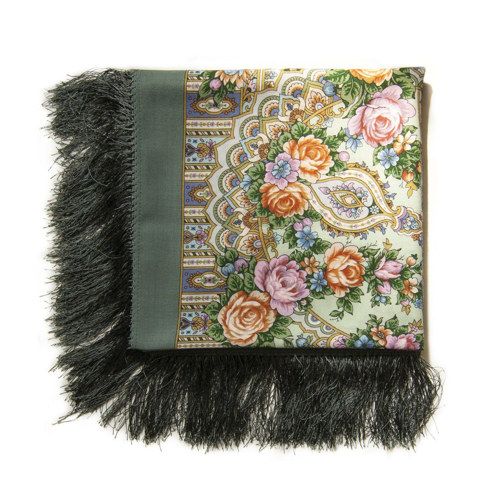100% Woolen Foulard / Shawl 'FLOWERS FOR A BEE'