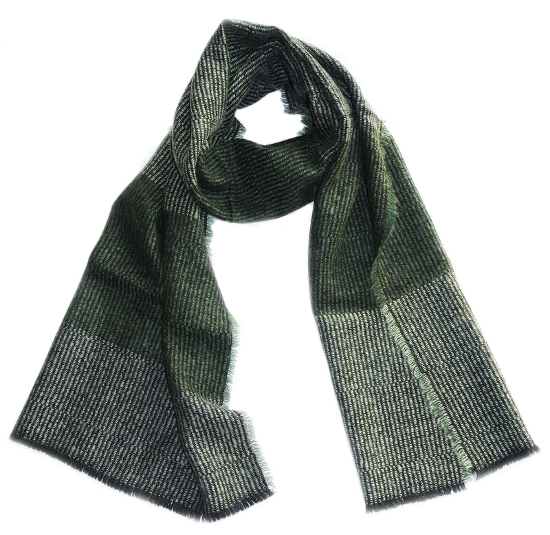 Wool + Mohair Scarf 'Linear stripy green', 50 x 212 cm, by Kelpman Textile, Estonia