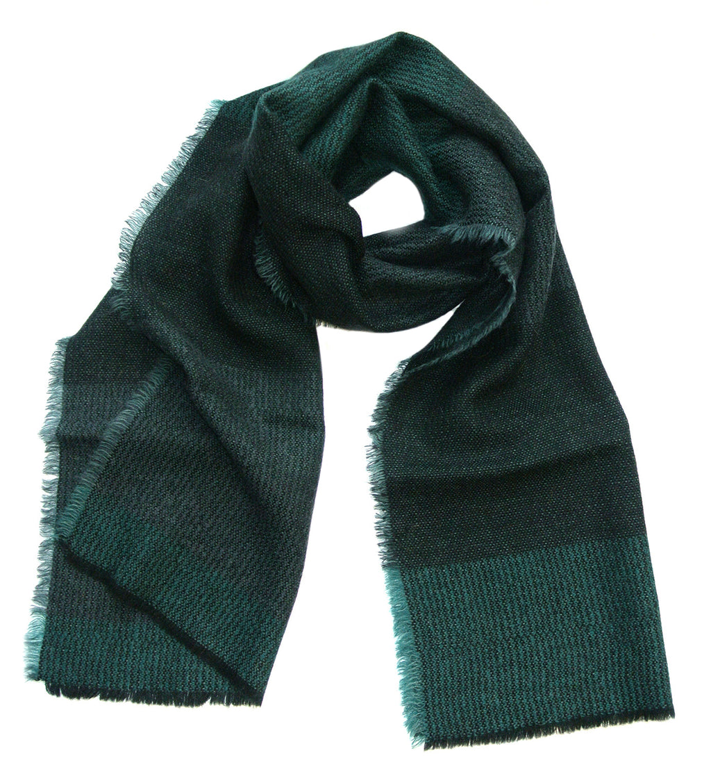 Wool + Mohair Scarf 'Linear green, black', 50 x 214 cm, by Kelpman Textile, Estonia