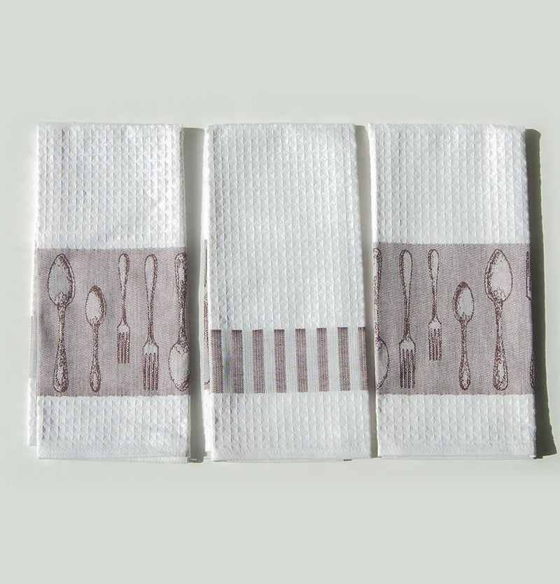 "100% Cotton Jacquard Tea Towels double-sided ""FOREVER & EVER...the weave made"", 3 pc"