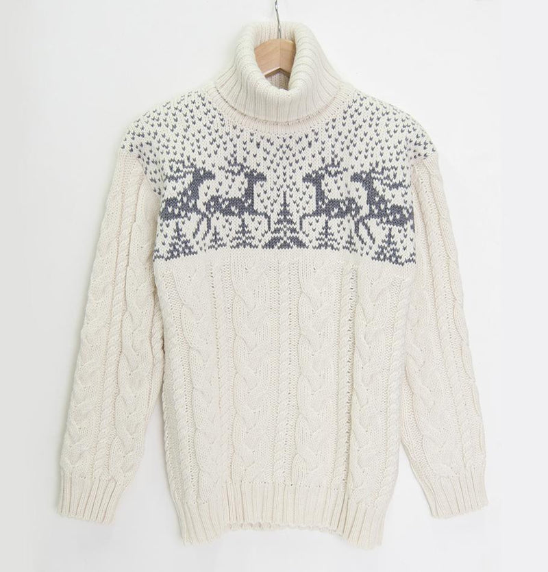 100% Wool Boyfriend Pullover 'SILVESTER DEER' - Treasure Box