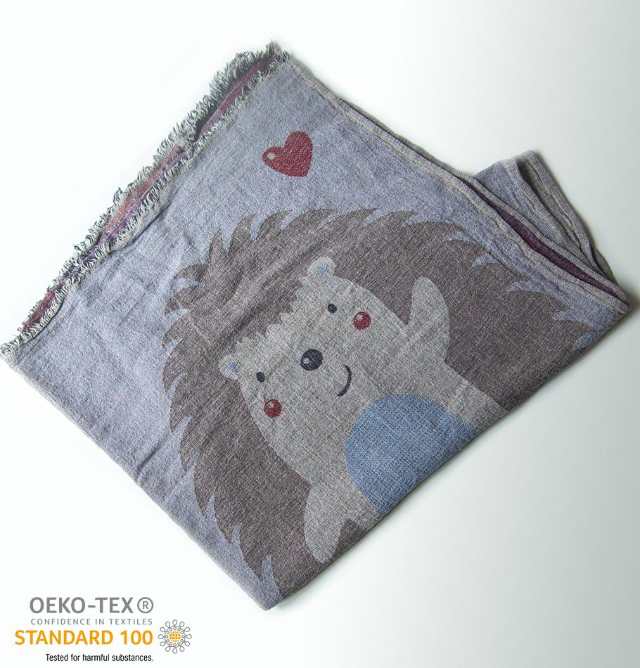 100% Softened Linen Blanket, Jacquard, double-sided, 120 x 180 cm 'LOVE YOU TO THE MOON' - Treasure Box