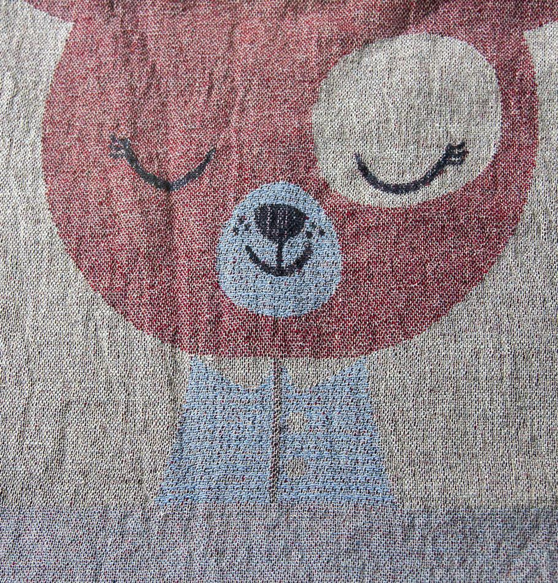 100% Softened Linen Blanket, Jacquard, double-sided, 120 x 180 cm 'LOVE YOU TO THE MOON'