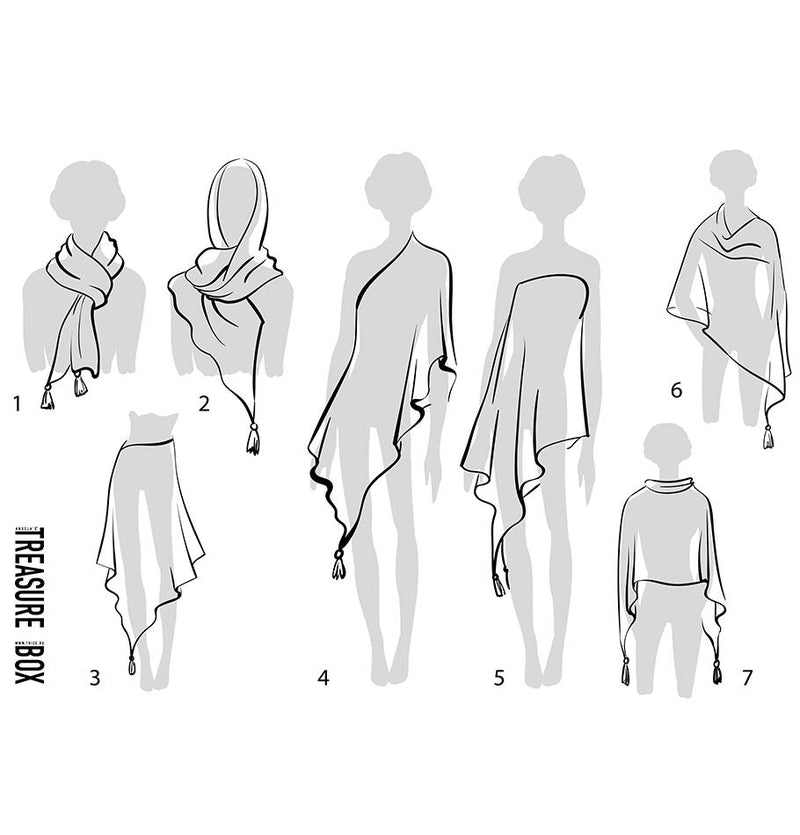 100% Linen Scarf / Poncho / Pareo 'Rowa' - Treasure Box