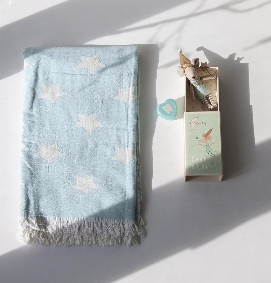 Premium Turkish Cotton Throw, double-sided, 90 x 160 cm 'HOW TO CATCH A STAR'