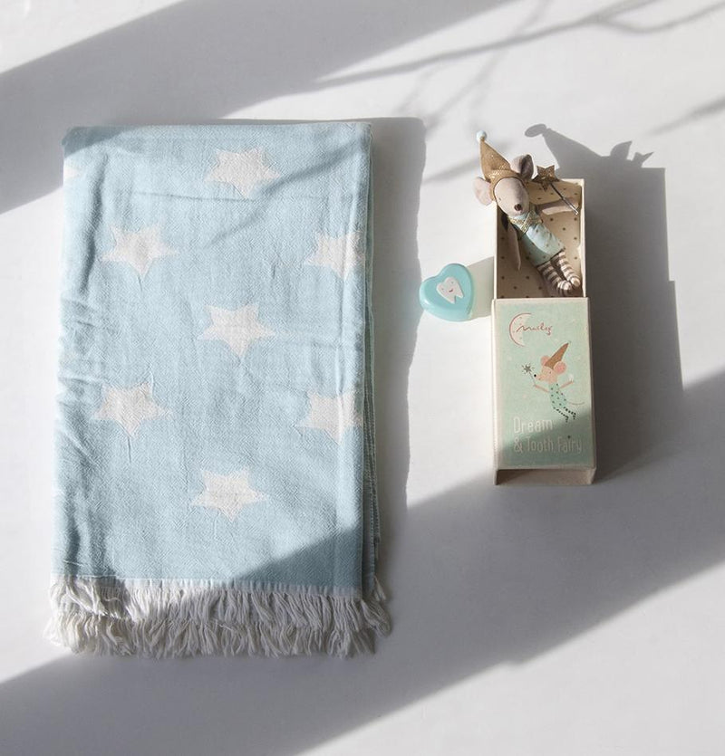 Premium Turkish Cotton Throw, double-sided, 90 x 160 cm 'HOW TO CATCH A STAR' - Treasure Box