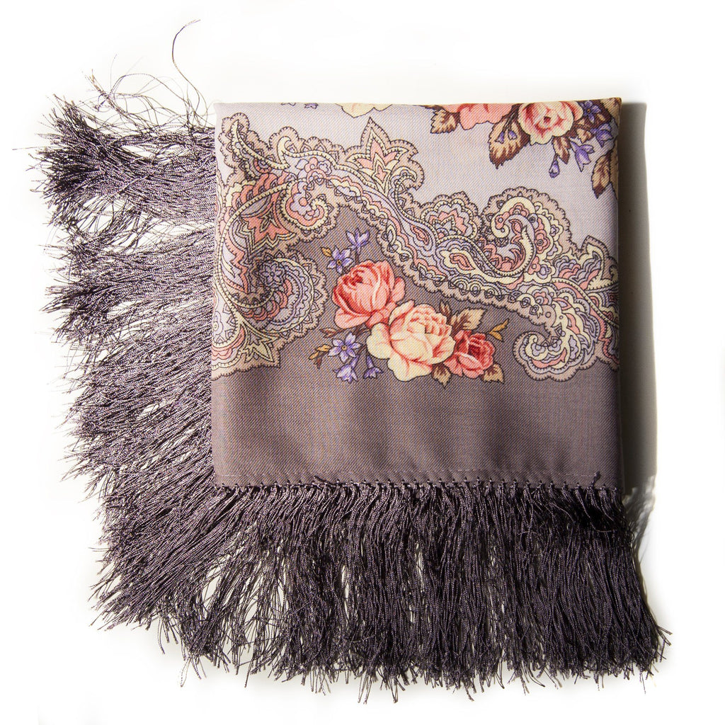 100% Woolen Foulard / Shawl 'FLOWERS FOR A BEE' - Treasure Box