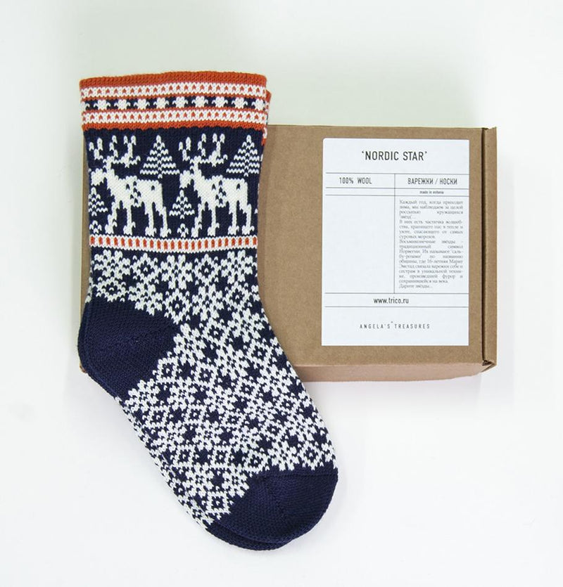 100% Wool Socks 'DEER', size 41-43, choice of color - Treasure Box