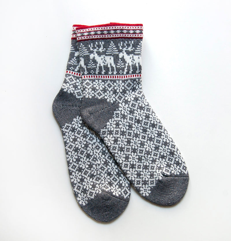 100% Wool Socks 'DEER', size 37-39, choice of color - Treasure Box