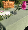 100% Softened Linen Tablecloth 135 cm x 200 cm + Linen Napkins, 4 pc, 45 cm x 45 cm, forrest green - Treasure Box