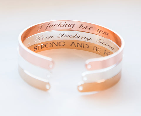Adjustable size cuff bracelet - custom inside engraving, secret message, gold, rose gold, silver finish