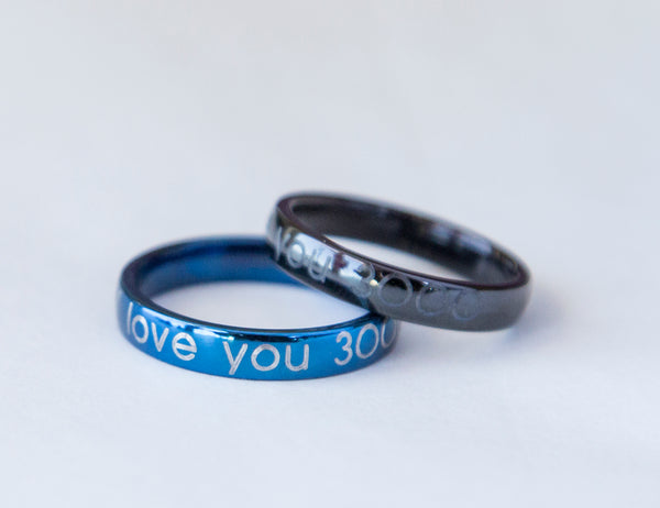 Engraved steel ring - 2 side custom engraving - 5 colors