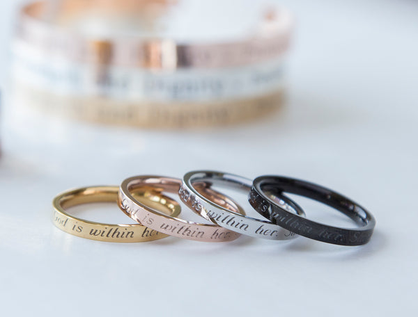 Stackable ring - outside custom engraving - 4 colors