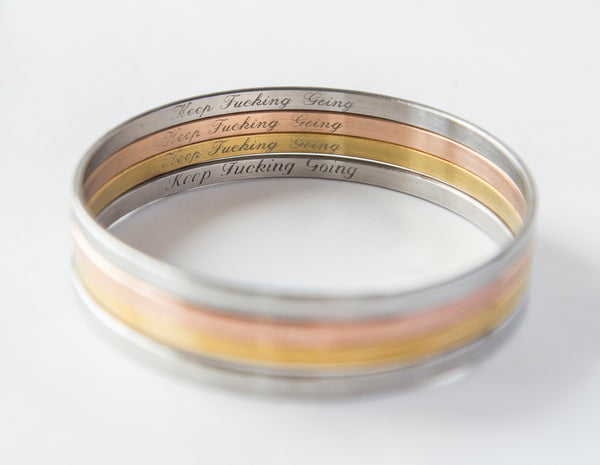 Hidden message engraved bangle bracelet - custom engraving, gold, rose gold, steel finish