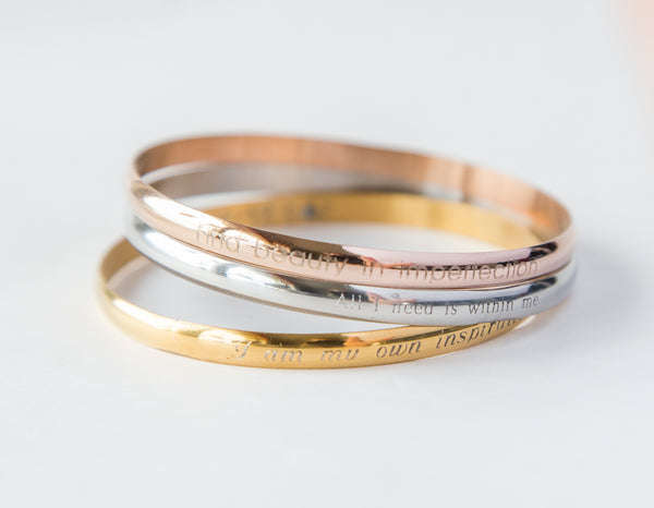 Personalized message engraved bangle bracelet - custom engraving, gold, rose gold, steel finish