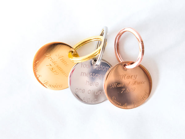 Round Stainless Steel Keychain - 2 side custom engraving, Gold, Rose Gold, Steel, Rainbow