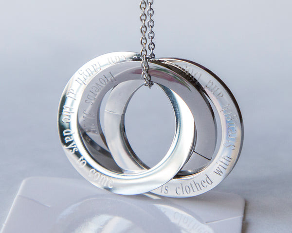 Infinty rings pendant / Family rings / Russian rings - custom engraving