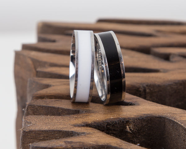 Black and White Enamel Couples Ring Set of Two, Engraving Inside