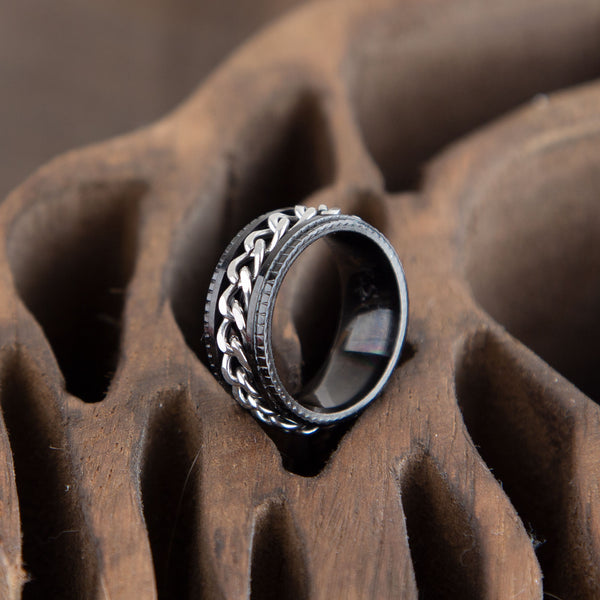 Black Spinner Ring For Men, 8mm Wide, Engraving Inside
