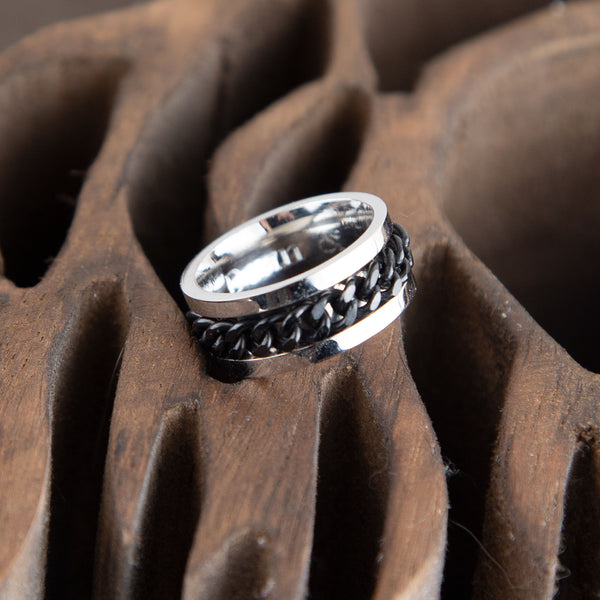 Spinner Ring For Men, 8mm Wide, Engraving Inside