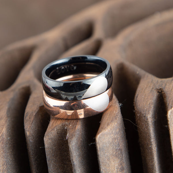 Couple Ring Set, Half Heart Couple Rings, Rose Gold and Black Stainless Steel