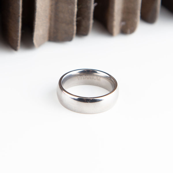 Shiny Titanium Ring, 6mm Wide, Inside or Outside Engraving