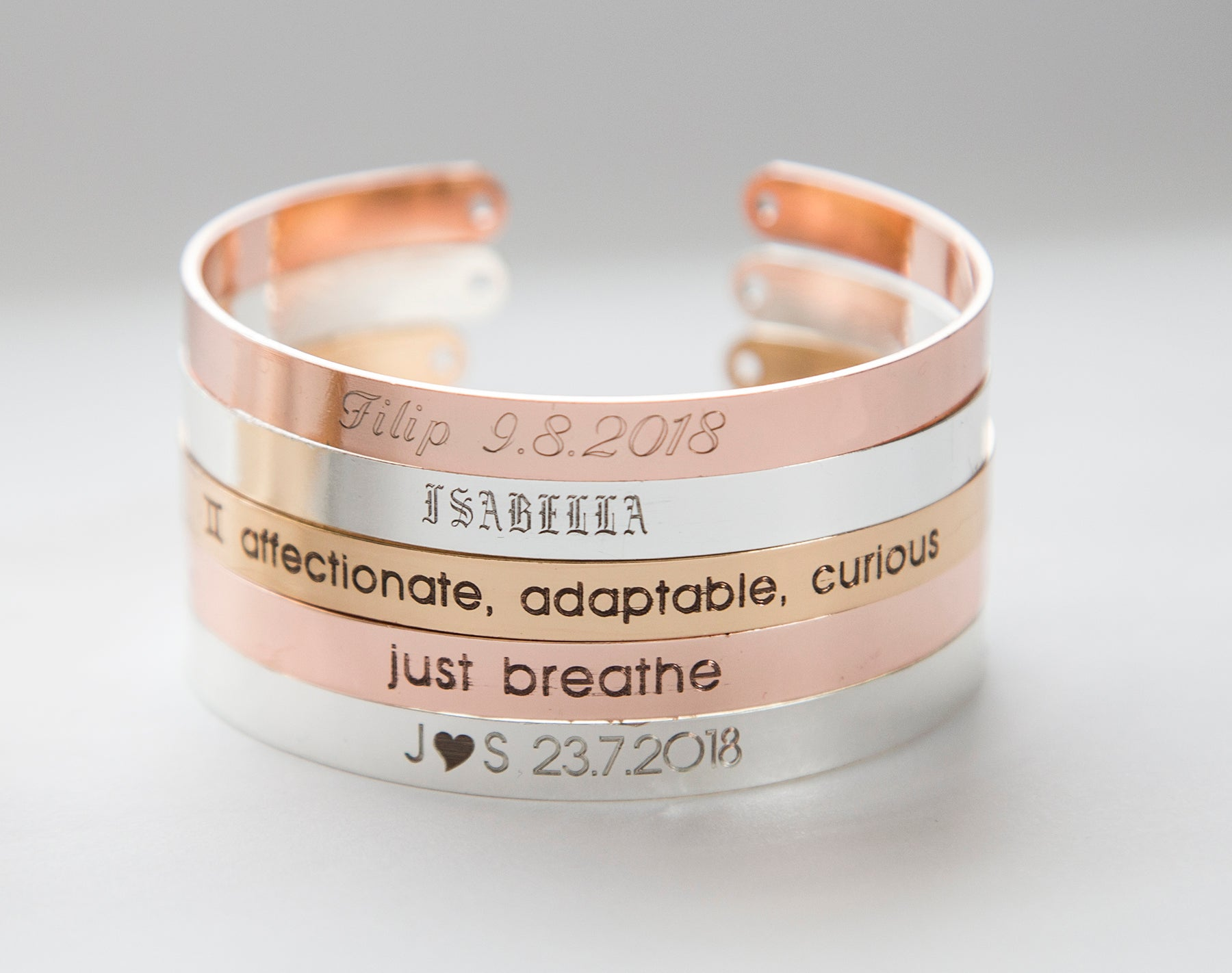 Adjustable size cuff bracelet - custom engraving, gold, rose gold, silver finish