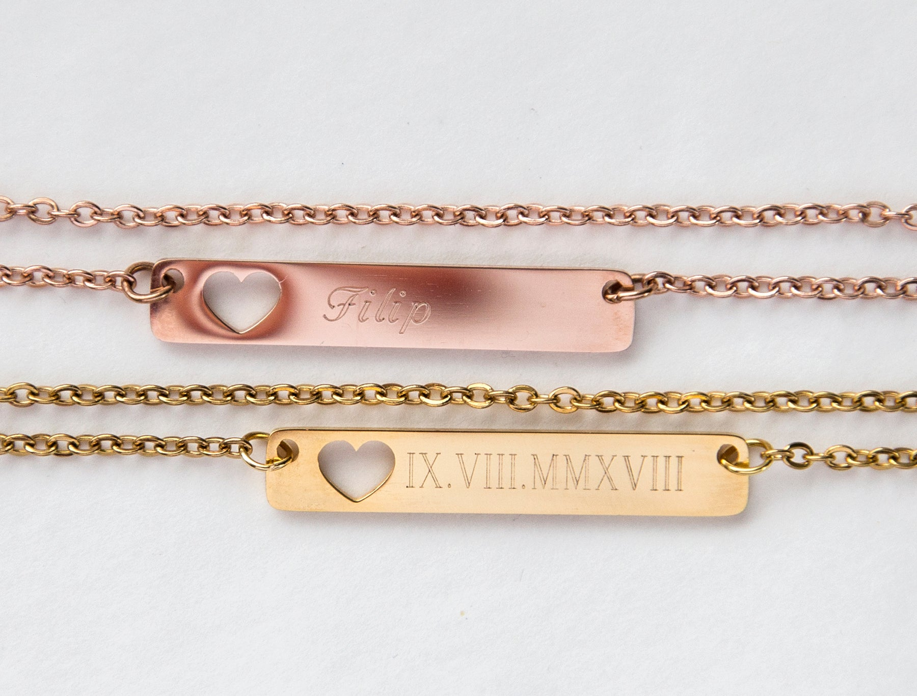 Hollow Heart Engraved Bar Pendant - 1 or 2 side custom engraving, rose gold, gold