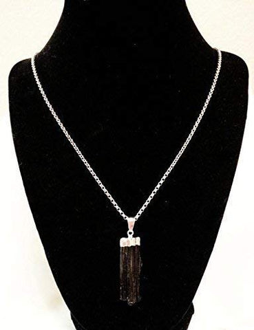 Natural Black Tourmaline Crystal Pendant Necklace 22 inches Unisex