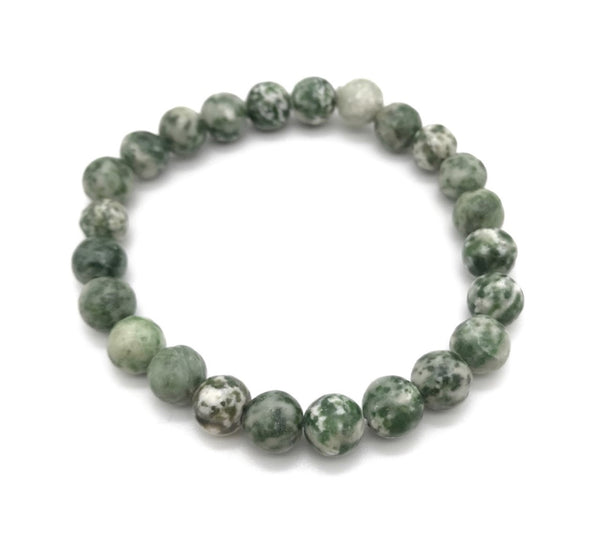 Natural Tree Agate Gemstone Stretch Bracelet