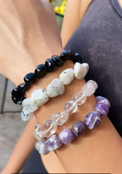 Natural Moonstone Tumbled Gemstone Stretch Bracelet