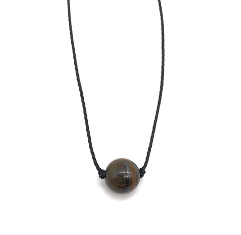 Natural Tigers Eye Round Gemstone Necklace