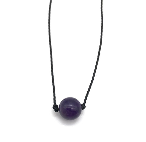Natural Amethyst Round Gemstone Necklace