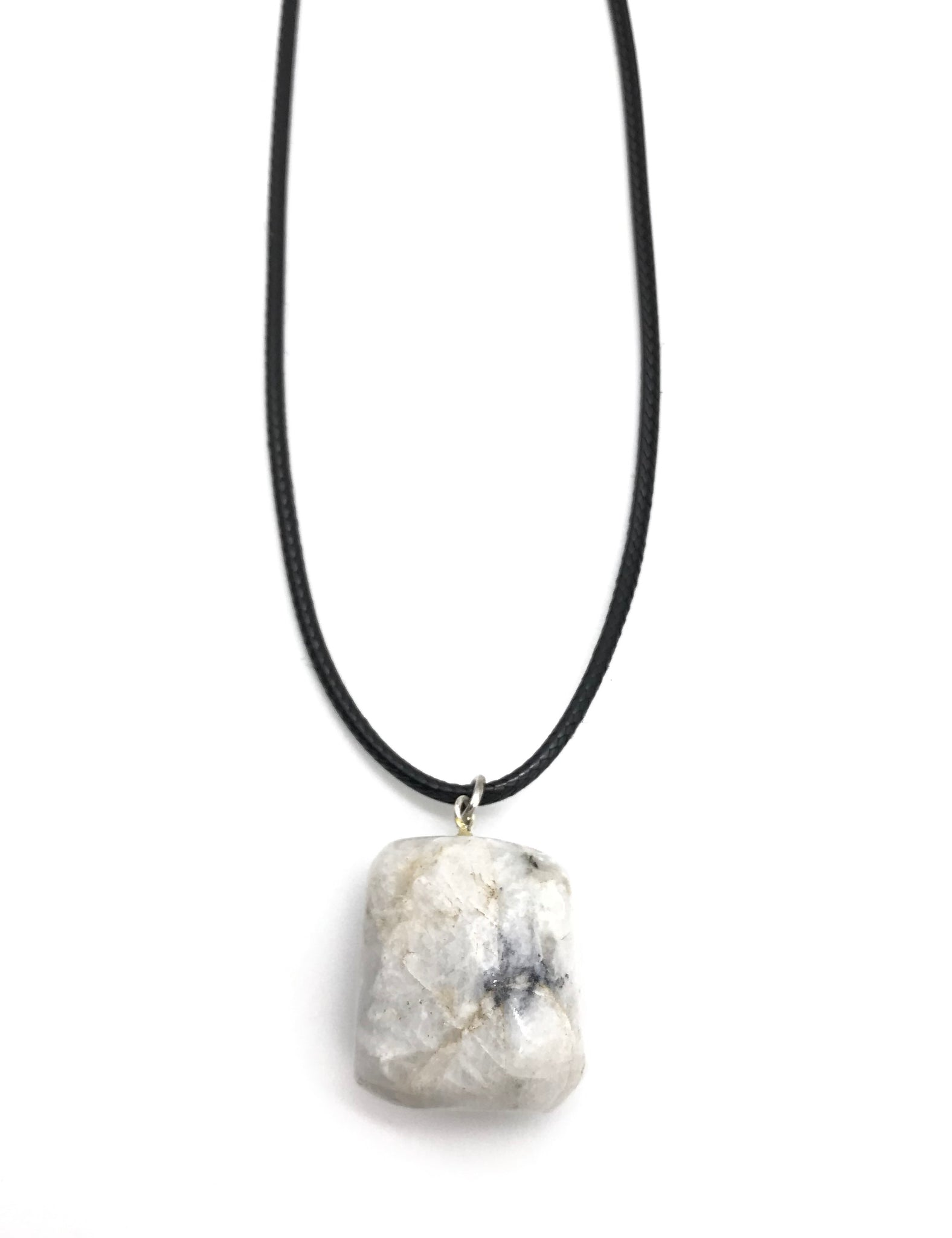 RAW TUMBLED MOONSTONE HYPOALLERGENIC CORD NECKLACE 16 to 28 INCHES UNISEX