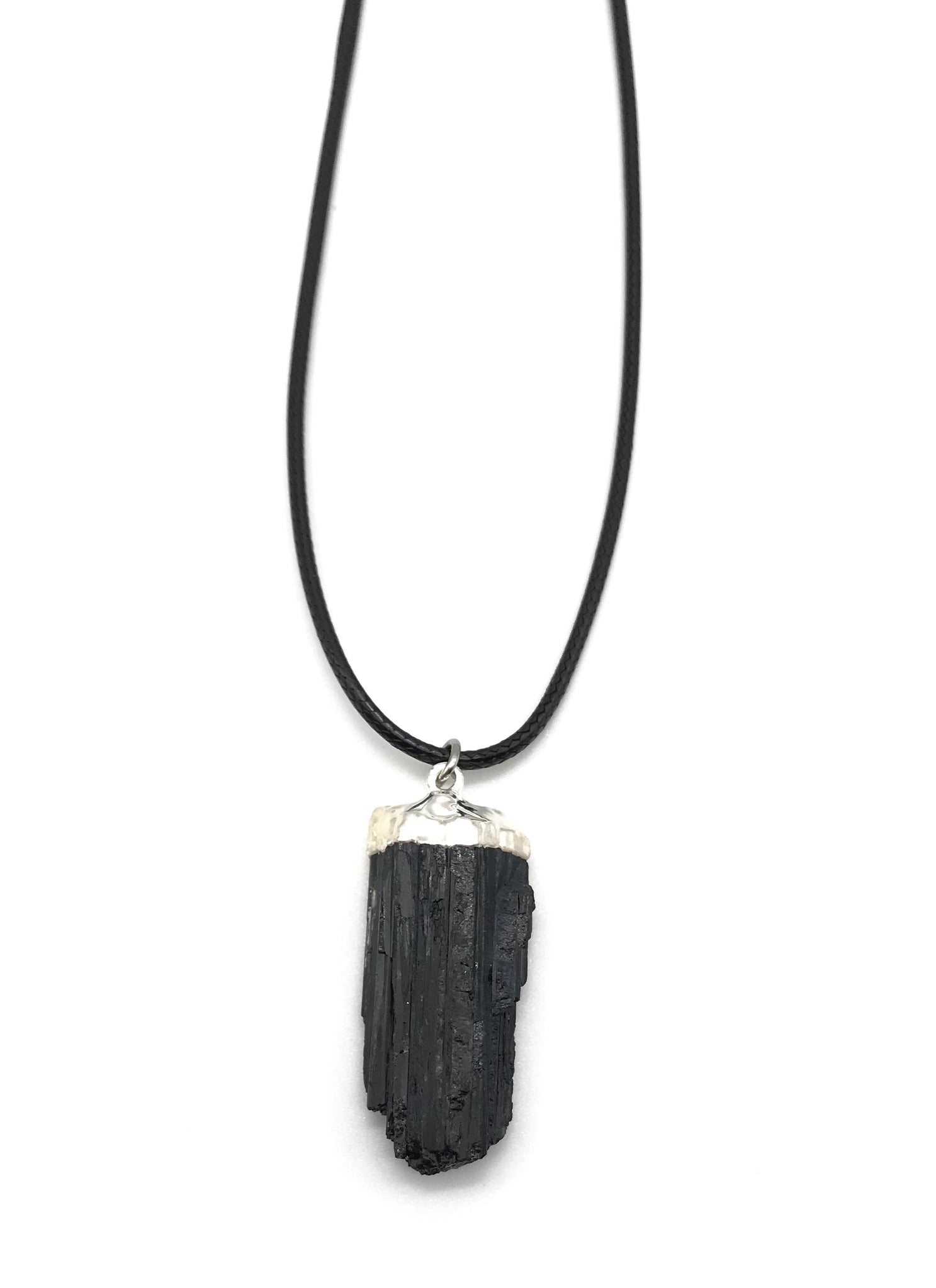 NATURAL GEMSTONE BLACK TOURMALINE HYPOALLERGENIC CORD NECKLACE 16 to 28 INCHES UNISEX