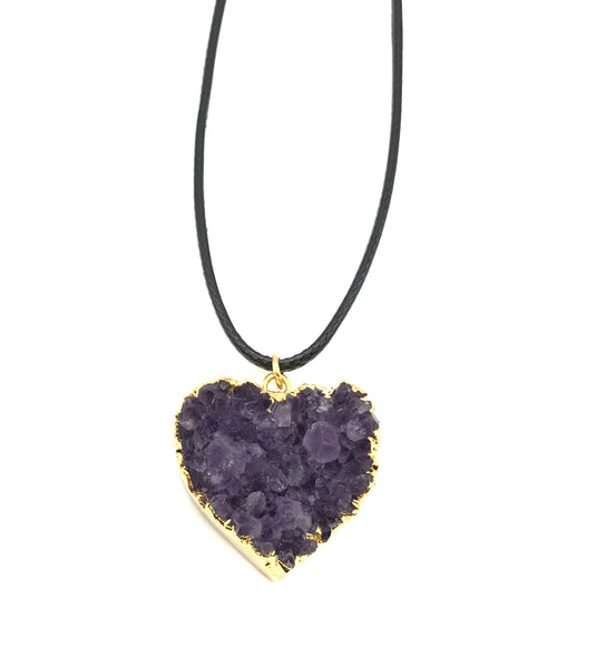 Natural Druzy Amethyst Gold Heart Gemstone Crystal Pendant Hypoallergenic Cord Necklace 16 to 28 Inches Unisex