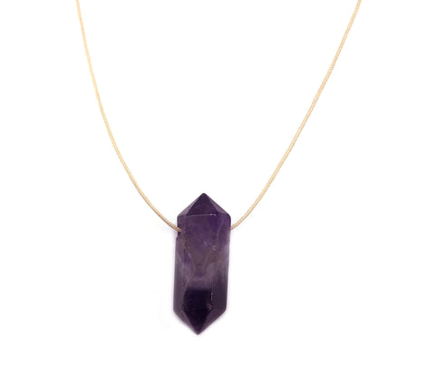 Natural Amethyst Nude Hypoallergenic Cord Necklace 16 to 28 Inches Unisex