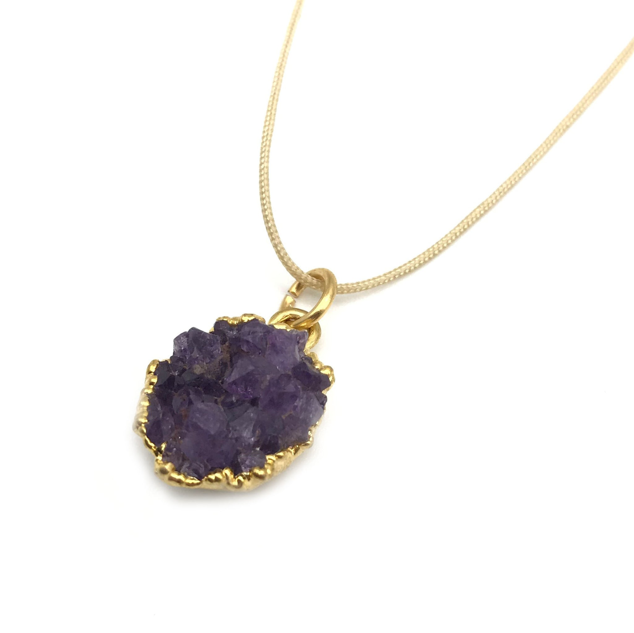 Natural Druzy Amethyst Nude Hypoallergenic Cord Necklace 16 to 28 Inches Unisex